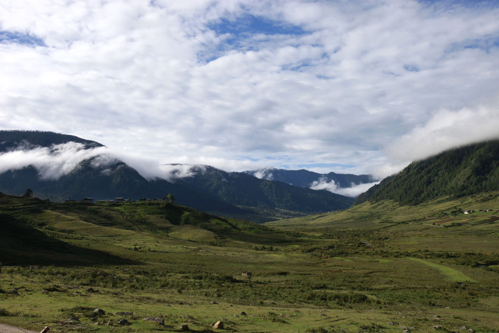 Traumreise Bhutan Trekking Himalaya Jomolhari Wandern Gebirge Yeti Yaks Pobjhika Schwarhals Kraniche Blacked Neck Crane