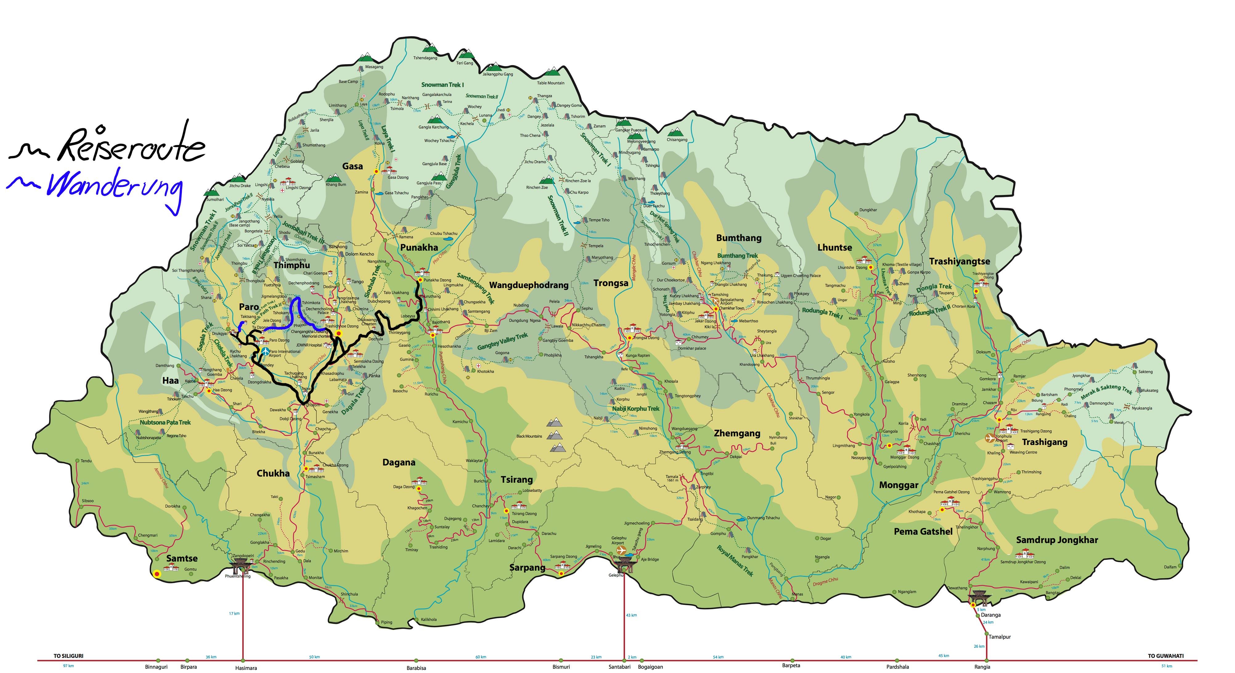 Traumreise Land Glück Bhutan Kultur Trekking Druk Path