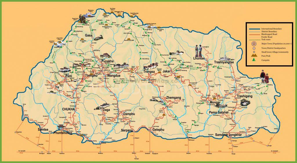 Karte Bhutan