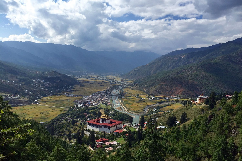 Paro Tal Dzong Bhutan Aussicht Trekking
