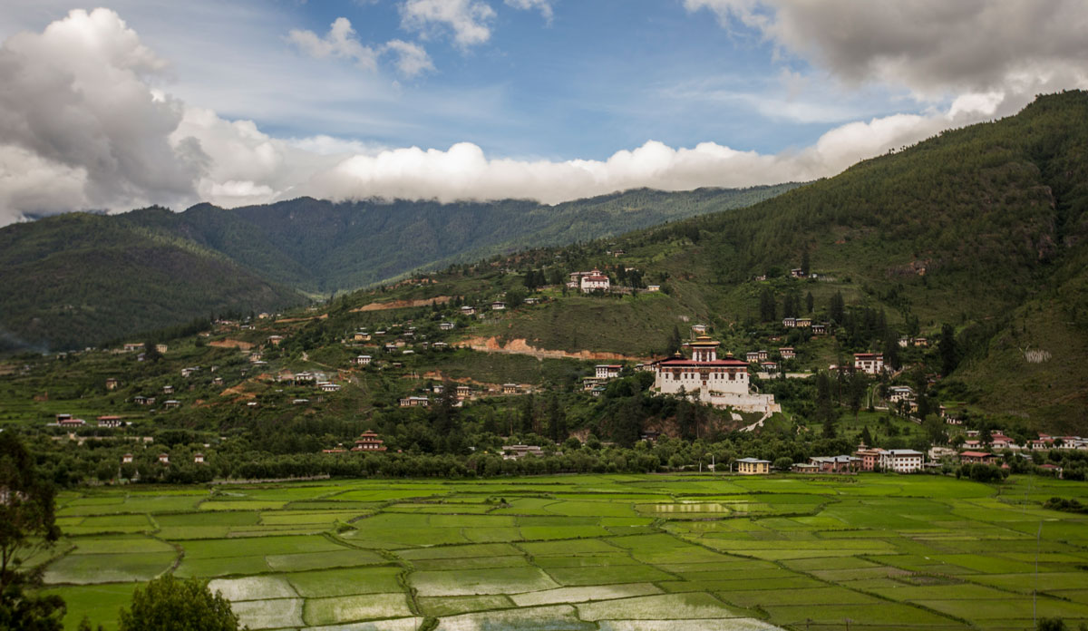 Paro Bhutan Dzong Reisfelder