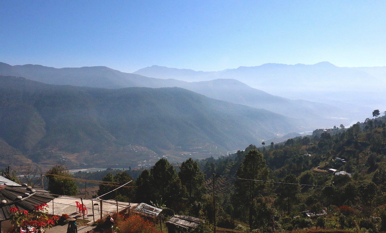 Berge Wald Bhutan Aussicht Tal Paro